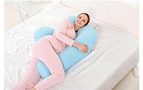 DU&HL Confortable complète Body Pillow, soulagement de la douleur Oreiller, coussin d'allaitement Avec 100% coton couverture, dos et ventre soutien Grand cadeau pour maman et bébé! (Bleu)