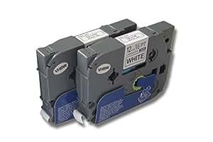 Deux cassettes à ruban Cartouche 12mm pour Brother P-Touch 200 310 550 900 1010 1090 1200 1280 1750 1800 2000 2460 2480 3600 9400 9600 comme TZ-231