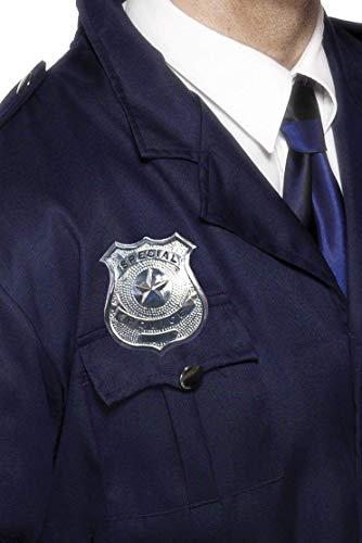 (Smiffys Damen und Herren Silberne Metall Polizei Marke, One Size, 22480)