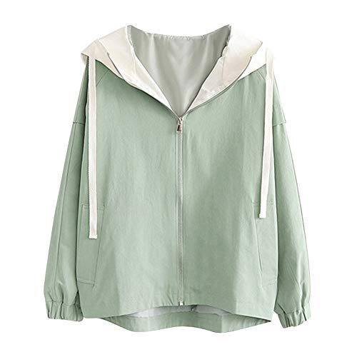 NPRADLA 2018 Herbst Winter Damen Mantel Langarm Passende Farbe Dünne Kapuze Zip Taschen Jacke ()