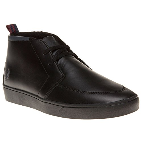 Fred Perry Shields Mid Leather Herren Sneaker Schwarz Schwarz