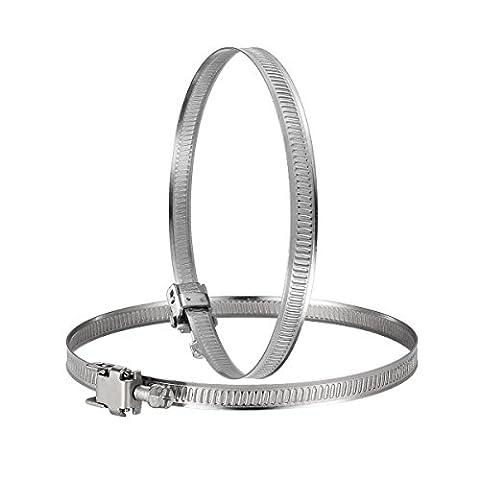 Hon&Guan Colliers de Serrage Réglable en Acier Inoxydable Clip à Tuyau pour System de Ventilation - 2pcs (100mm)