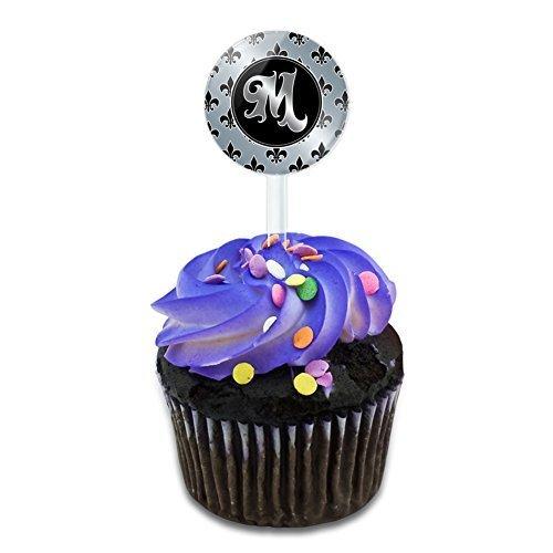 Buchstabe M auf Fleur de Lis Muster Kuchen, Cupcake Picks Set Made auf Terra
