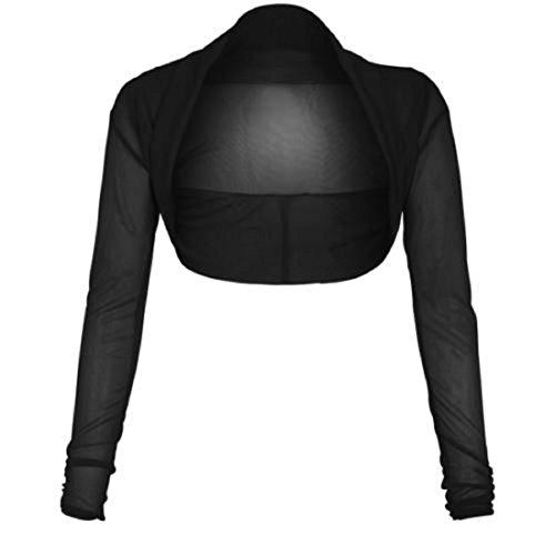 Coprispalle da donna a maniche lunghe in chiffon, taglie da S a XL Black