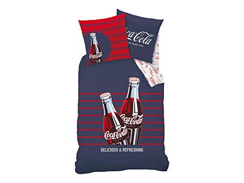 Coca-Cola Bettwäsche, Polyester Baumwolle, Blau, 200x 140cm