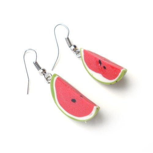 Idin Handgemachte Fimo-Ohrringe - Wassermelonen Fimo Ohrhänger