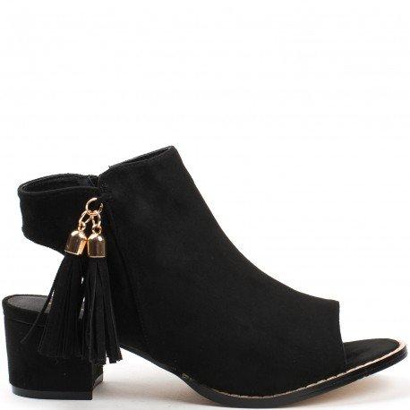 Ideal Shoes - Bottines peep toe ouvertes à l'arrière effet daim Laisa Noir