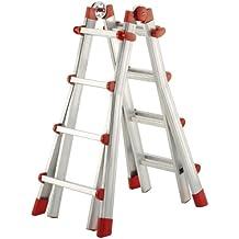 Hailo 7516-031 - Escalera telescópica de aluminio (4 x 4 escalones, extensible para apoyar en la pared)