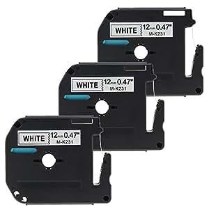Lot de 3 Ruban Adhésif pour Étiqueteuse Compatible avec Brother M-K231 / 12mm x 8m / Noir sur Blanc / pour Brother P-Touch Étiqueteuses PT-100,PT-110,PT-55BM,PT-55S,PT-65,PT-65SB,PT-65SCCP,PT-65SL,PT-65VP,PT-70,PT-70BBVP,PT-70BM,PT-70BMH,PT-70HK,PT-70HOL,PT-70HOT,PT-70SP,PT-70SR,PT-80,PT-80SCCP,PT-85,PT-90
