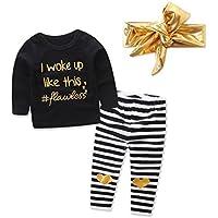 Ropa bebé, Amlaiworld camiseta tops de niñas Bebé infantil + Pantalones con rayas del corazón + Diadema Conjunto de trajes 3 Mes - 2 Años (Negro, Tamaño:6 Mes)