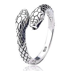 Idea Regalo - Serpente a doppia testa Anello in argento 925 | regolabile dimensione unisex uomini donne | by Serebra Jewelry