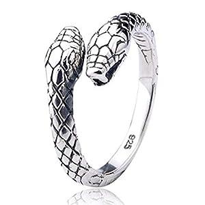 Doppelköpfiger Schlangen Ring aus 925 Sterlingsilber für Frauen Damen Herren Männer Unisex by Serebra Jewerly
