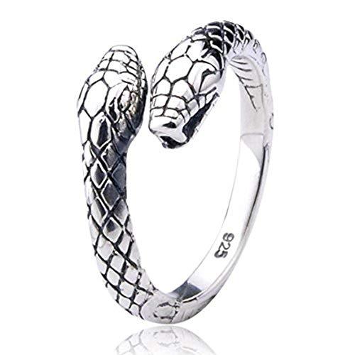 Serpente a doppia testa Anello in argento 925 | regolabile dimensione unisex uomini donne | by Serebra Jewelry