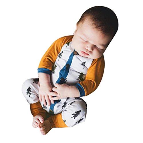 Babymode URSING Baby-Strampler Kinder-Strampler Baby Bäume drucken Langer Hülsen Spielanzug Strampler Overall Romper Strampelanzug Bodysuit Babybody Bodys Outfits für Jungen und Mädchen (70, Weiß) (Blumen-print Set Pyjama)