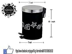 King International Stainless Steel Black Designer Pedal Dustbin