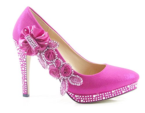 Glitter Gorgeous Wedding Bridal Evening Party Crystal High Heels Women Shoes 8 Pink