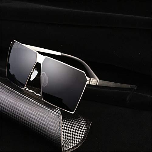 LKVNHP Hohe Qualität Übergroße Sonnenbrille Männer Frauen Flat Top Objektiv Platz Sonnenbrille Für Mann Keine Schraube Ultraleicht Gespiegelt Anti Reflexion UvSilber Schwarz