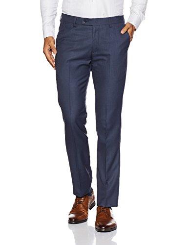 Arrow Men's Pleat-Front Synthetic Formal Trousers (8907538932792_Navy_34)