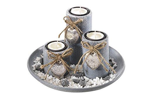 Dekoschale rund mit 3 Kerzenhalter aus Holz grau und Steindekoration