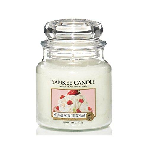Yankee Candle 1173531E Bougie Parfumée Biscuit Fourré à Fraise Blanc