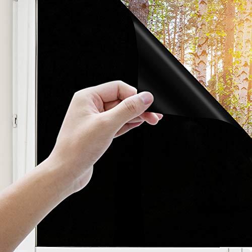 Uiter Vinilo Negro Película para Ventanas - Bloquear 100{7f78e8f663f7ef094b26a0d51cb7c4b15e84e13b7ab1cd0c91e966f782603c2e} del Luz Privacidad Auto-adhesivo Película, Anti-UV Calor para Las Cristal de tu Dormitorio u Oficina (45* 200cm)