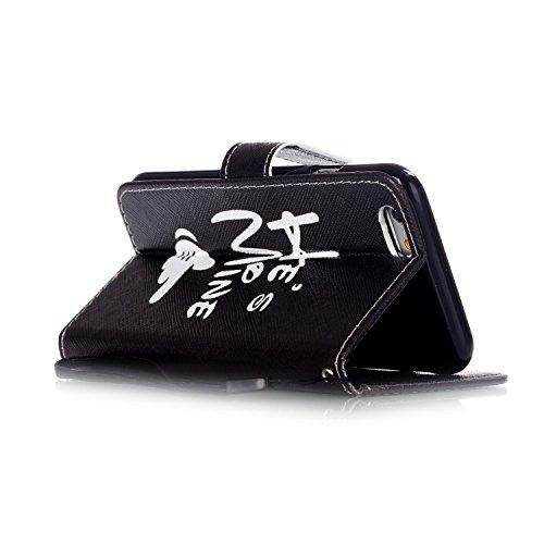 Etsue für iPhone 6S/iPhone 6 Leder Brieftasche Case Handy Hülle, iPhone 6S/iPhone 6 [schwarz Katze Auge] Muster Lederhülle Leder Flip Case Wallet Tasche Schutzhülle im Bookstyle Magnet Etui Schale mit Mann Finger