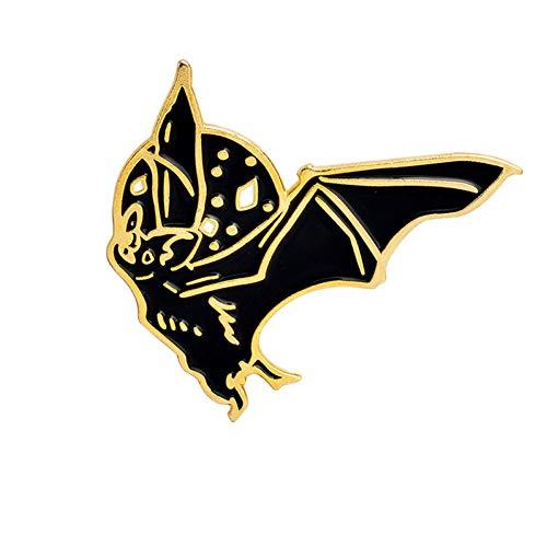 HFKDJ Brosche Gold Schwarz Punk Fledermaus Pins Hartemaille Pin Abzeichen Broschen Halloween Spooky Animal Jewelry, 2