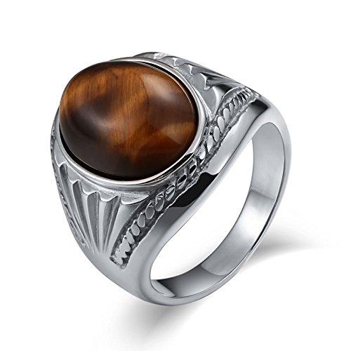 SonMo Stainless Steel Herren Ringe Siegelring Bernstein Opal Silber Ring Braun Silber Signet Ring Band Ring Daumenring für Mann