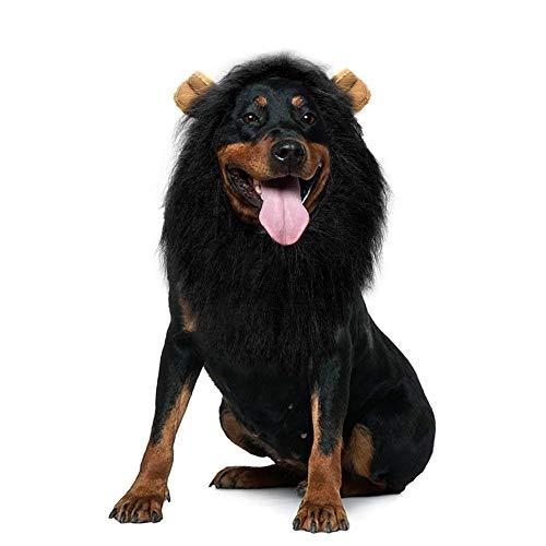 ETPARK Hund Löwe Mähne, Groß Pet Hund Katze Löwe Perücken Mähne Haar mit Ohren für Festival Party Kleidung Schals Kostüm Hund (Schwarz)