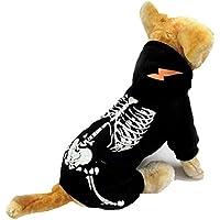 Perro Luminoso Esqueleto Año nuevo Navidad Víspera de Todos los Santos Suéter Capucha Al aire libre camiseta Osito de peluche Capa 5 Tamaños (XL, Negro)