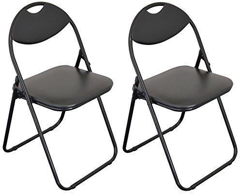 Chaise de bureau rembourrée noir et pliable de Harbour Housewares / Armature noir - Boîte de 2