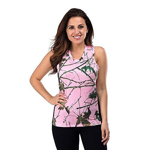 Trail Crest Damen Tank-Top Camo - Feuchtigkeitstransport, 4-Wege-Stretch - perfekte Outwear und Fitnessbekleidung - Pink - X-Groß