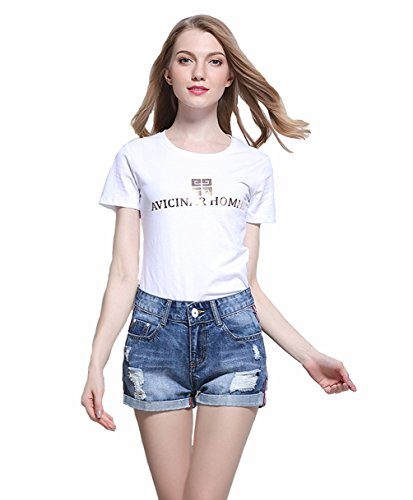 2018 TieNew Frauen / Damen / Mädchen hoch taillierte Hotpants Jeans Style Shorts, Frauen hohe Taille Crimpen Denim Shorts Jeans Shorts Hot Pants, Frauen sexy Zerrissene Loch kurze Hosen Distressed Denim Shorts.TieNew Damenmode Denim Jean Shorts sind ...