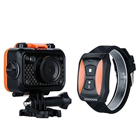 SOOCOO S60 60M Etanche Caméra Sport Action avec Montre Télécommande Sans Fil 12MP Full HD 1080p 1,5 Pouces LCD Couleur Ecran Wi-Fi Anti-choc Sport
