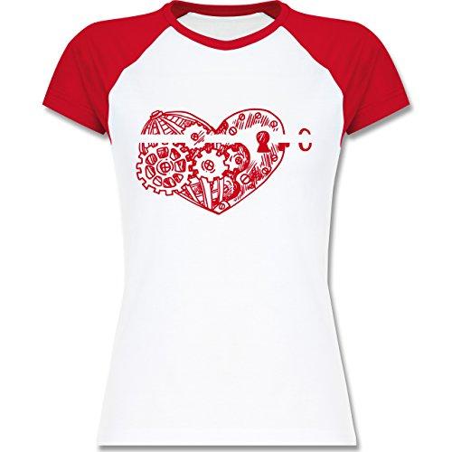 Valentinstag - Schlüssel zum Herzen - zweifarbiges Baseballshirt / Raglan T-Shirt für Damen Weiß/Rot