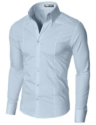 Herren Hemd Slim Fit Business Langarmhemd von MODERNO (MSSF501) Himmelblau EU L (3-knopf-kragen-shirt)