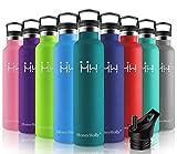 HoneyHolly Vakuum Isolierte Edelstahl Trinkflasche 1l,BPA Frei Wasserflasche Auslaufsicher Thermosflasche,Thermoskanne kohlensäure geeignet für Kinder,Kleiner,Schule,Sport,Fahrrad