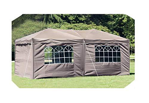 habeig® Wasserdichter Faltpavillon 3x6m Taupe Anthrazit Pavillon inkl. Seiten mit Fenster Partyzelt Stahlverbinder (Taupe (Beige))