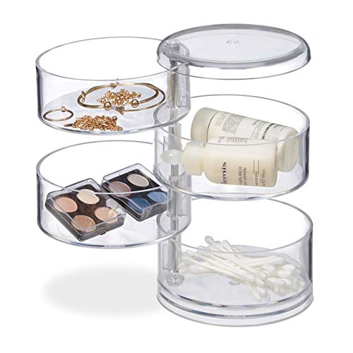 Relaxdays Kosmetik-Organizer mit 4 drehbaren Fächern, Make Up Kit f. Lippenstift etc., Kosmetik-Tower Acryl, transparent