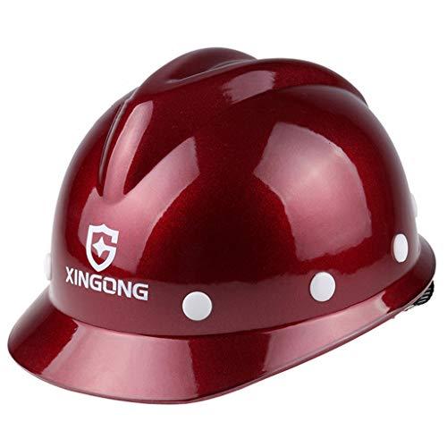 HongTong Casco de Seguridad Construcción de Obra Construcción de Casco Anti-ácaros Tipo V (Color : Red 1)