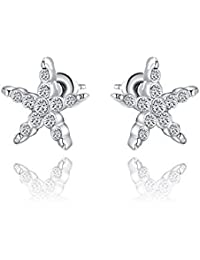 Silver Shoppee 'Studded Star' High Quality Genuine Austrian Crystal Studded Sterling Silver Earrings for Girls and Women