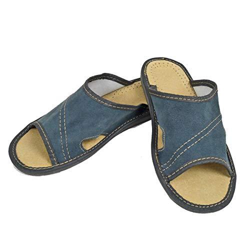 DF-SOFT Herren Herrenpantoffel Pantoffel Hausschuhe Haus Schuhe Leder Pantoffel Lederpantoffel Pantoletten Schlappen Modell 30 (44 EU)