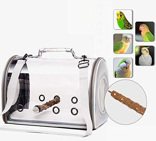 Haustier Rucksack Vögel Papagei Transportbehälter Atmungsaktive/mit Holzstab,Papagei Ausflug Rucksack/Vogel ReisekäFig/Leichte Transparente Vogel Tasche
