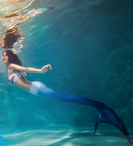 Xyfushi Meerjungfrauenflosse / Badeanzug für Damen, mit Oberteil Gr. XL, Blue with Monofin