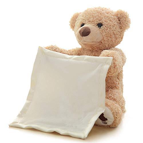 (Mooyii Peek A Boo Teddy Bear Stofftier Spielzeug Plüsch Bär mit Musik Spielen verstecken und tragen Kinder Ideal Geschenk für Kinder)