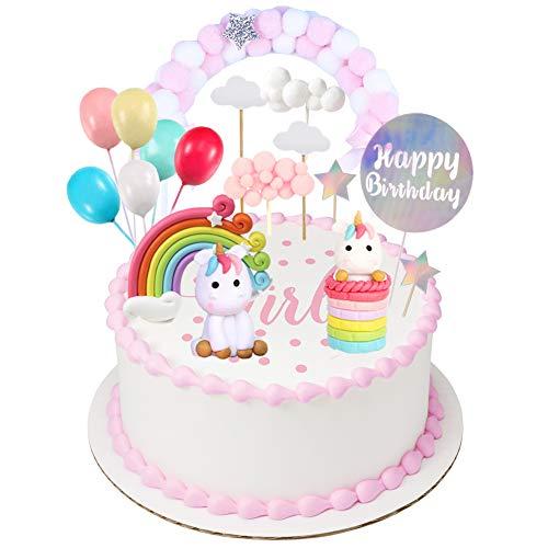 Einhorn Tortendeko Geburtstag Kuchen kinder Einhorn Kuchen Topper 9er Set einschließlich...