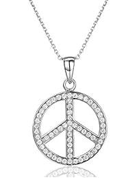 e160ae8f2ab0 Halskette 925 Sterling Silber Peace Zeichen Anhänger, Zirkonia Jewelry  Friedens Symbol bedeutsame Geschenke