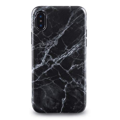 Schwarz-marmor (Oveo® für iPhone X/XS Hülle, Slim Fit Silikon Handyhülle mit Matt Schwarz Marmor Muster)