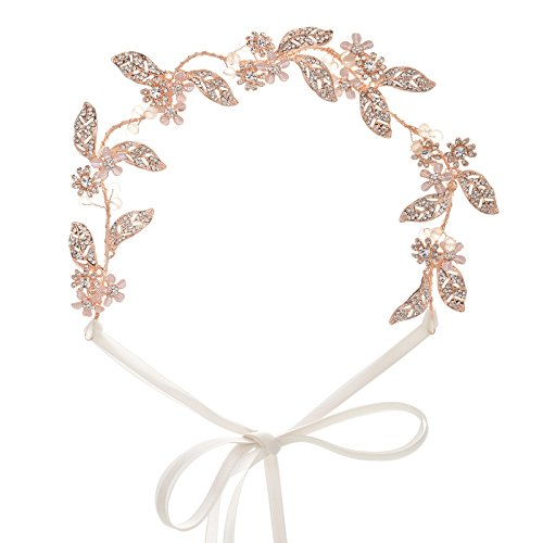 sweetv Leave Stil Rose Gold Brautschmuck Haarband Hochzeit Strassbesatz Stirnband Vine Schmuck
