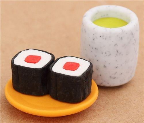 Preisvergleich Produktbild Sushi Rolle Grüner Tee Radiergummi aus Japan von Iwako
